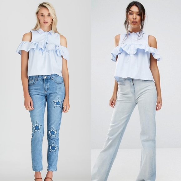 9fb5b2301e2 ASOS Tops | Boohoo Light Blue Frill Cold Shoulder Shirt | Poshmark